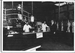 Interior of Lawrence Meat Market in Sebastopol, California, about 1900