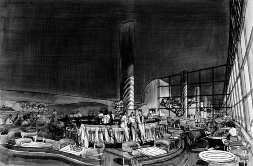 Study of cocktail lounge, a drawing