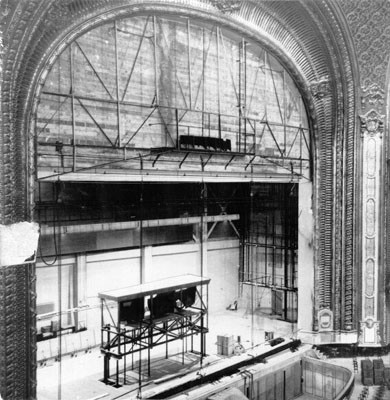 [Interior of Fox Theater under construction]