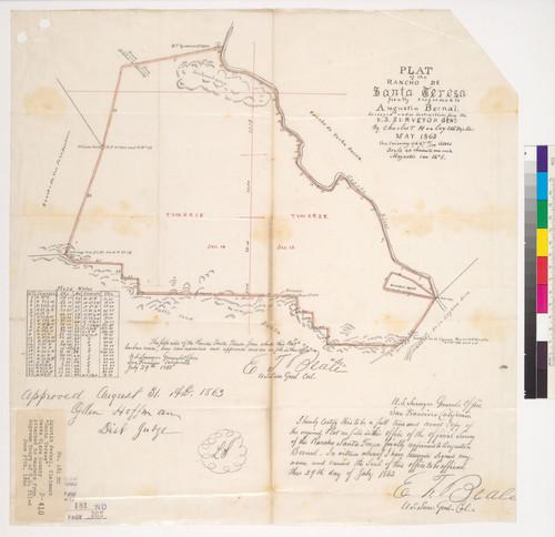 Santa Teresa California Map.Calisphere Plat Of The Rancho De Santa Teresa Finally Confirmed To