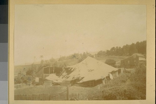 [Wooden building with collapsed roof, related to San Francisco water supply?]