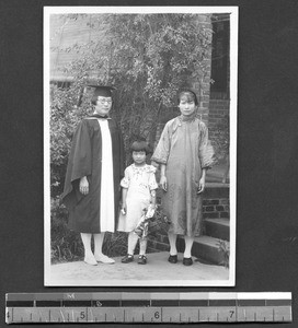 Woman graduate with family, Chengdu, Sichuan, China, ca.1935