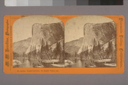 El Capitan, height 3,300 feet, Yo Semite Valley, Cal.--Photographer: S. C. Walker & G. Fagersteen--Publisher: M. M. Hazeltine, Photographer. Successors to J. J. Reilly & M. M. Hazeltine--Photographer's series: Yosemite Valley, California