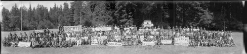 Group portrait of the attendees of the July 1940 Methodist Youth California Conference in Humboldt, California