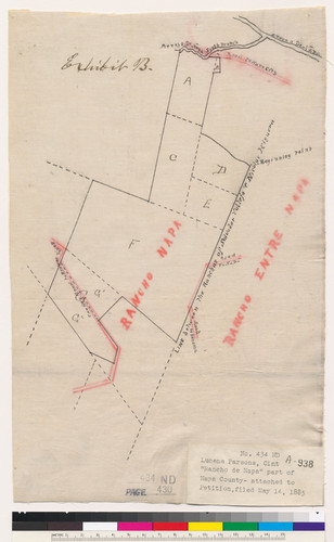 [Sketch of a rancho claim in the vicinity of Rancho Napa and Rancho Entre Napa : Napa County, Calif. / Surveyed by W.A. Pierce]