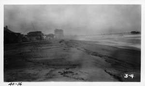 Looking south from 20th Street, Hermosa Beach (heavy rain), Los Angeles County, 1940