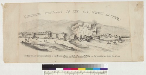 The late collision between the trains of the Western Pacific and S[an] F[rancisco] & Alameda R[ail] R[oad] Co[mpanie]s near Simpsons Station [California], Sunday No[ember] 14th, 1869