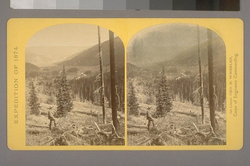 "Canon, Valley of the Conejos River, looking South from vicinity of ""Lost Lakes.""--Photographer: T. H. O'Sullivan--Photographer's number: 36--Photographer's series: Expedition of 1874"