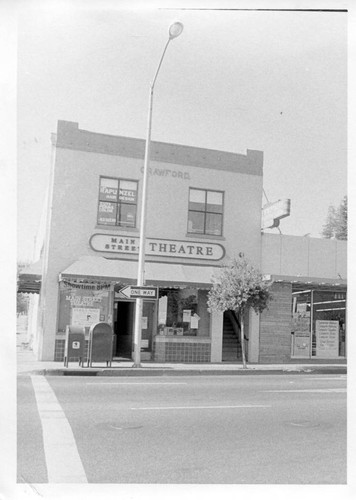 Main Street Theatre in the Crawford building at 104 North Main and Bodega Avenue in Sebastopol, circa late 1980s