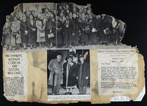 Page from a COGIC scrapbook containing news clippings, 1946
