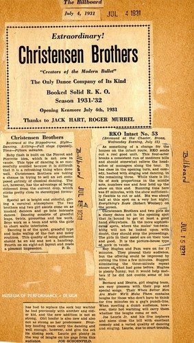 Articles reviewing the Christensen Brothers vaudeville acts