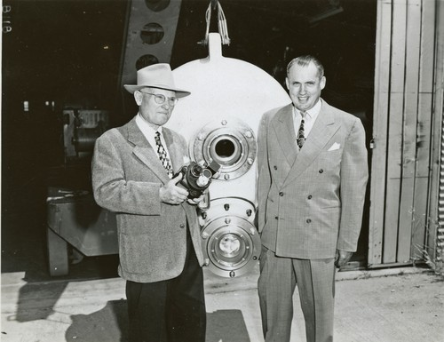 G. Allan Hancock and Dr. Maurice Nelles, with benthograph