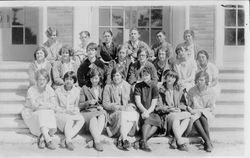 Yearbook photo in 1927 of the Analy Scholarship Society, Chapter #122 on the steps of the then new Analy gym