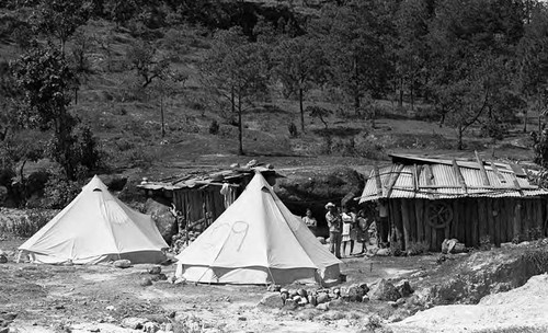 Refugee tents and shacks, Perquín, Morazán, 1983
