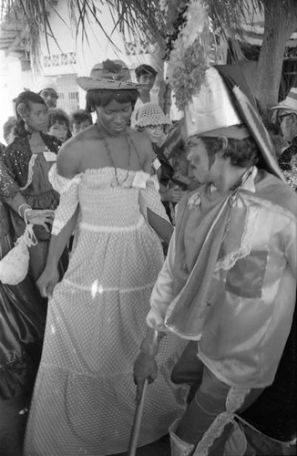 Dancers performing among the crowd, Barranquilla, Colombia, 1977
