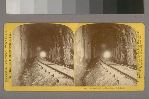 Tunnel No.1--Blue Canon, C. P. R. R.--Photographer: Thomas Houseworth--Photographer's number: 1307--Place of Publication: San Francisco.--Photographer's series: Central Pacific Railroad