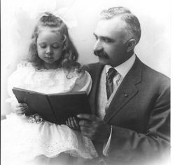 Bunni Myers at age 4 1/2 with her grandfather, Chester Myers, about 1910