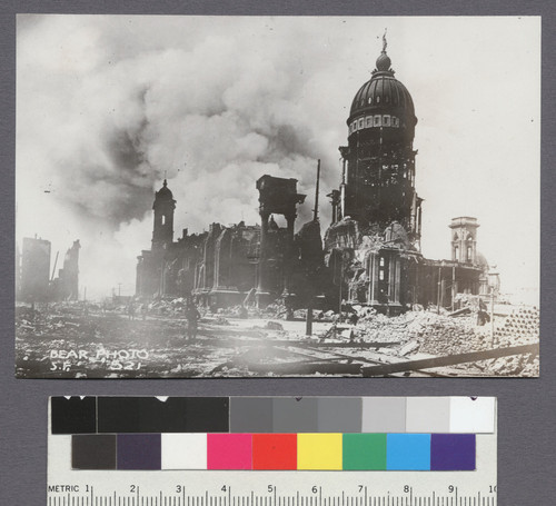 [City Hall. Fire burning in background.]