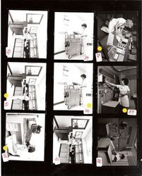 Contact sheet of nine pictures showing various hospital activities