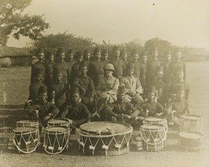 King's African Rifles Band with European Officer, Malawi, ca. 1914-1918