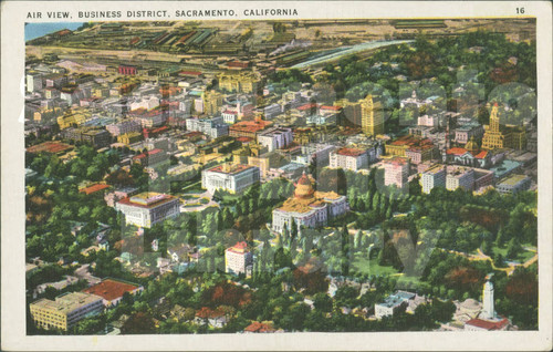 Aerial View of Government and Business Districts, Sacramento, CA