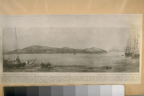 Yerba Buena (now San Francisco) in the Spring of 1837. This is the first known print taken on the site