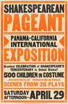 Shakespearean Pageant, Panama-California International Exposition, greatest celebration of Shakespeare's tercentenary in the United States! 500 children in costume, juvenile orchestra, scenes from 26 plays, Saturday afternoon - April 29