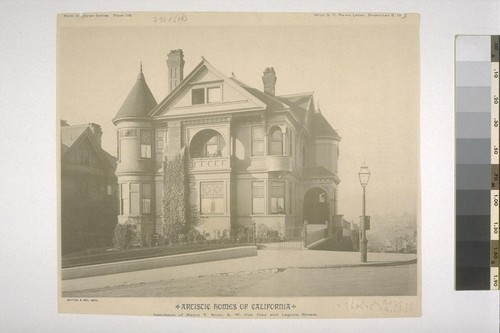 "Residence of Henry T. Scott, S. W. Cor. Clay and Laguna Streets, New Artotype Series, Plate 118, with ""S. F. News Letter,"" December 5, 1888"