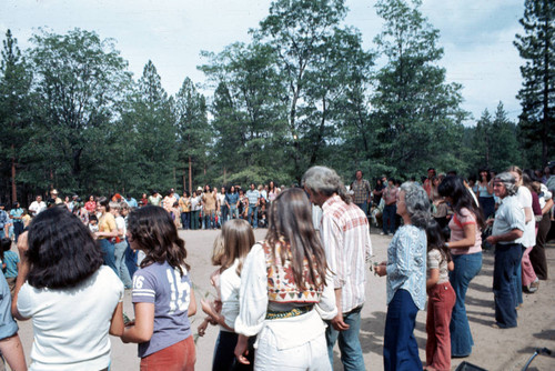 People participating in the bear dance at the Janesville Bear Dance--1977