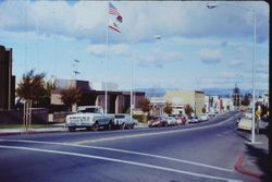 Looking east at the intersection of Bodega Avenue (Hwy 12) and North High Street, about 1976
