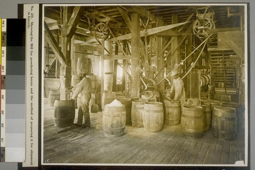 Showing the Mill for powdering borax and the method of preparing it for shipment in barrels