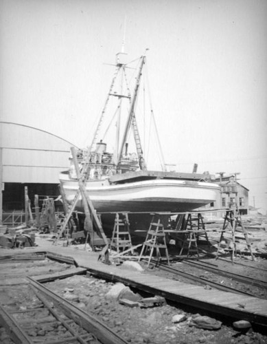 Boat in dry dock at Terminal Island