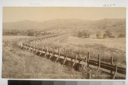 Trestle on San Diego Flume. San Diego Co., Cal. Parker Photo. 1026