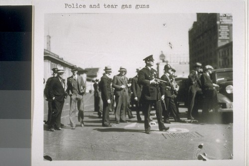 Police and tear gas guns