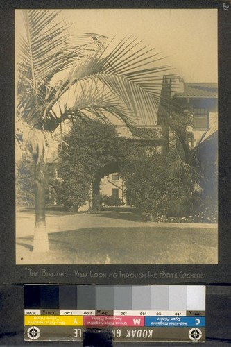 """The Bivouac."" View looking through the porte cochere. [Wilshire Boulevard, Los Angeles.]"