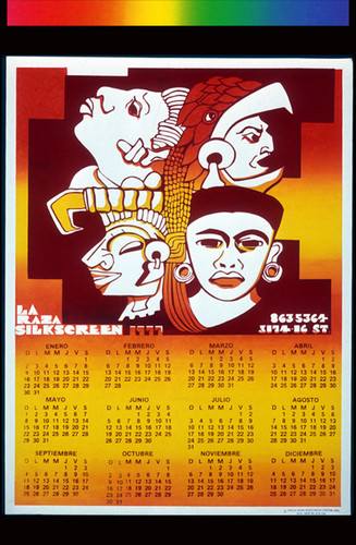 The calendar for La Raza Silkscreen 1977