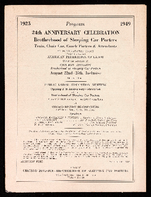 24th anniversary celebration Brotherhood of Sleeping Car Porters program