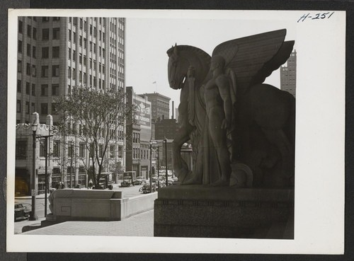 A street in the business section of St. Louis, Missouri, as seen from the Soldiers Memorial. Photographer: Mace, Charles E. St. Louis, Missouri