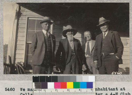 We make a call on the oldest inhabitant at Callahan's, Siskiyou County after a 4-H Club meeting. Spurrier, T. Hunt and Metcalf. W. Metcalf - Oct. 1931