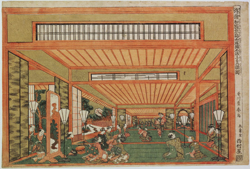 Interior of Shoin style architecture with dancers performing horse dance or Festivities in a mansion on the first Rat Day of the year, from Perspective Views of Japan