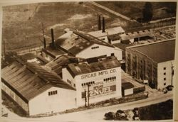 Aerial photo of the Speas Manufacturing and Distillery plant in Sebastopol at the corners of McKinley and Petaluma Avenue, about 1930s