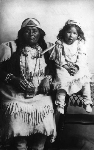 Pit River Indian woman and child