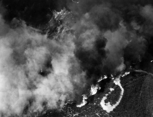 Plumes of smoke, aerial view