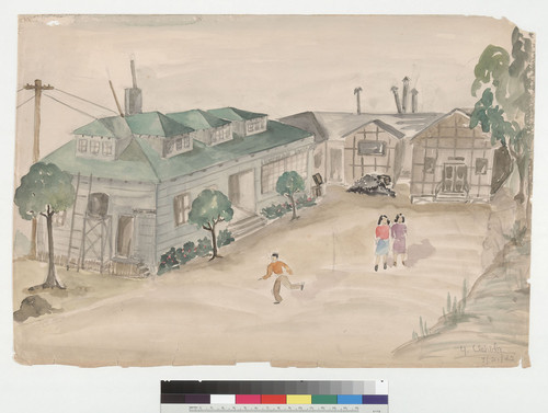 [Untitled watercolor of people at camp housing]