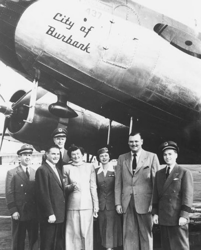 Mr. and Mrs. Sherman being congratulated on Cal Central Airlines, 1950