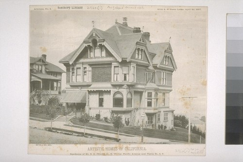"Residence of Mr. R. H. Pease, Jr., N. W. Cor. Pacific Ave. and Pierce St., S. F., Artotype No. 3, with ""S. F. News Letter,"" April 2d, 1887"