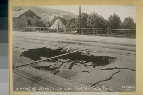 San Francisco Earthquake and Fire, 1906. Sinking of Stanyan St. near Golden Gate Park