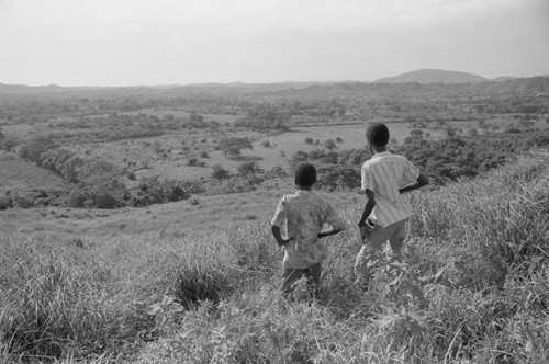 Two boys viewing the landscape, San Basilio de Palenque, 1976