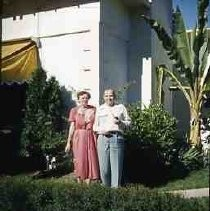 Slides of California Historical Sites. Catherine and Lawrence Merriam at Tomlinson House, Sonoma, Calif