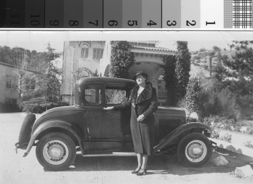 Mrs. Burd, with automobile, at Hotel Lebec